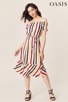 Oasis Natural Bali Stripe Midi Dress