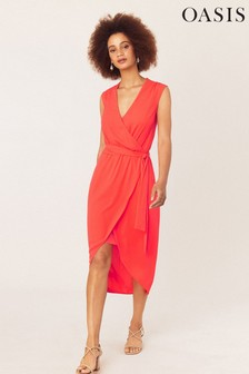 Oasis Orange Wrap Midi Dress