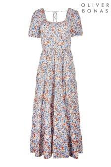Oliver Bonas Blue Blue Floral Maxi Dress