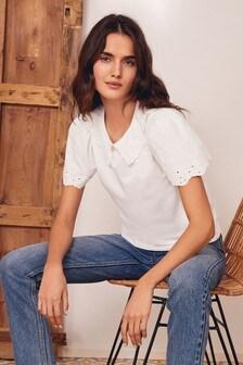 Cutwork Collar T-Shirt