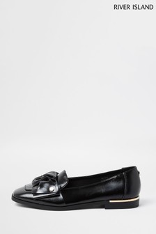 River Island Black Bow Loafers