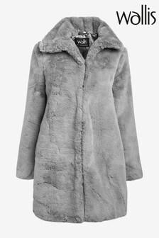 Wallis Grey Plush Faux Fur Coat