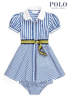Ralph Lauren White And Blue Stripe Dress