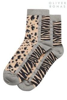 Oliver Bonas Animal Mix Pink Socks
