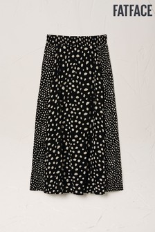 FatFace Black Millie Double Spot Midi Skirt