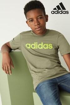 adidas Khaki Linear Logo T-Shirt