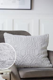 Grey Freya Textured Geo Faux Fur Cushion