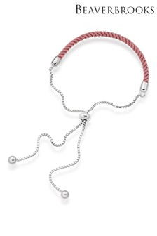 Beaverbrooks Sterling Silver Pink Friendship Slider Bracelet