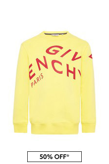 Givenchy Kids Boys Yellow Cotton Sweat Top