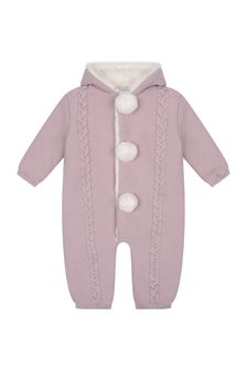 Baby Girls Pink Wool Knitted Pram Suit