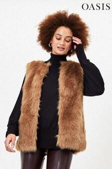 Oasis Natural Faux Fur Gilet