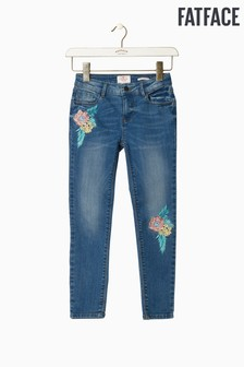 FatFace Blue Mid Wash Embroidered Slim Jean