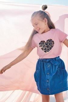 Flippy Sequin Animal Heart T-Shirt (3-16yrs)
