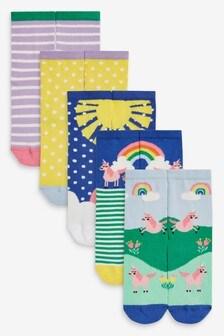 5 Pack Unicorn Scene Socks