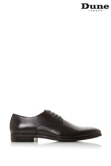 Dune London Sprints Black Leather Smart Gibson Shoes