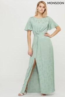 Monsoon Ladies Green Ellinor Satin Jacquard Maxi Dress