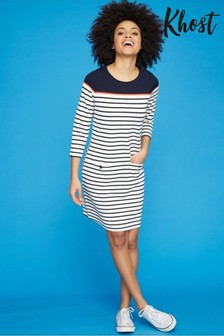 Khost Blue Stripe Ponte Tunic Dress