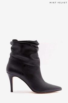 Mint Velvet Anya Black Leather Ankle Boots
