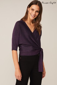 Phase Eight Purple Harper Wrap Knit Top