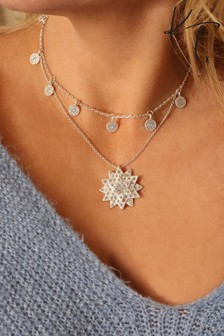 Kate Thornton Silver Tone Layered Star And Boho Coin Necklace