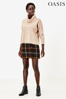 Oasis Natural Billie Check Mini Skirt