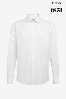 Moss 1851 Slim Fit White Double Cuff Twill Shirt
