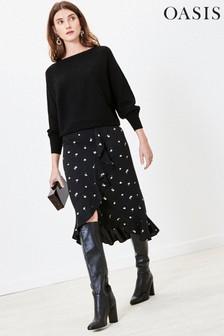 Oasis Black Foil Leaf Wrap Midi Skirt