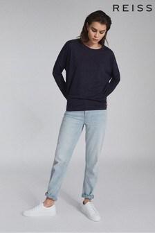 Reiss Blue Coraline Fine Jersey Long Sleeved T-Shirt