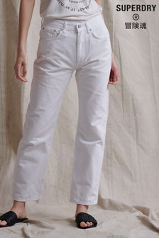 Superdry White High Rise Straight Leg Jeans