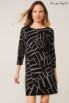 Phase Eight Black Marthe Abstract Print Knit Dress