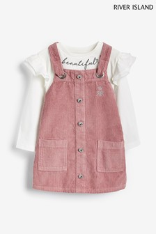 River Island Pink Cord Tape Pinny And T-Shirt Set