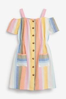 Stripe Cold Shoulder Dress (3-16yrs)
