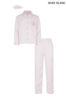 River Island Two Piece Pyjama Set In Light Pink With Diamond Monogramming