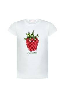 Monnalisa Girls White Cotton T-Shirt