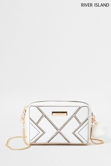 River Island White Cutabout Boxy Cross Body Bag
