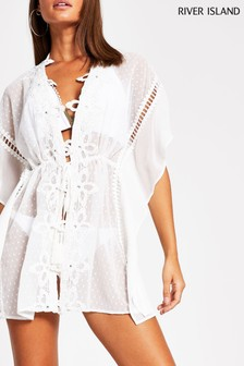 River Island White Floral Appliqué Beach Kaftan
