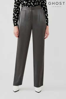 Ghost Grey Sofia Charcoal Satin Trousers