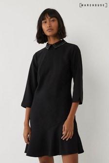 Warehouse Black Embellished Collar Mini Dress