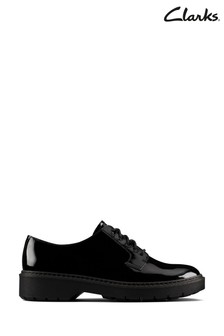Clarks Black Pat Witcombe Lace Shoes