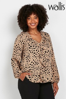 Wallis Animal Print Ruffle Front Top
