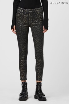 AllSaints Leopard Luxe Coated Gracie Skinny Jeans