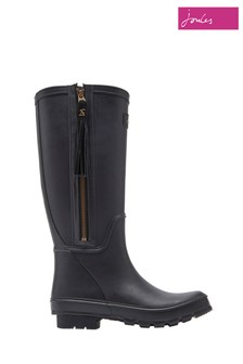 Joules Black Collette Wellies With Interchangeable Tassles