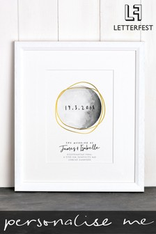 Personalised White Framed Moon Wedding Print by Letterfest