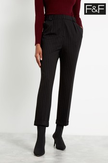 F&F Black Jersey Pin Stripe Trousers