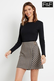 F&F Black Check Mini Skirt