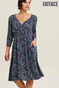 Vestido con diseño cruzado y estampado floral en color tinta Jocelyn de FatFace