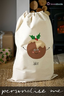 Personalised Pudding Christmas Sack by Loveabode