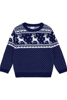 The Little Tailor Baby/Childrens Navy Fairisle Pattern Family Christmas Jumper