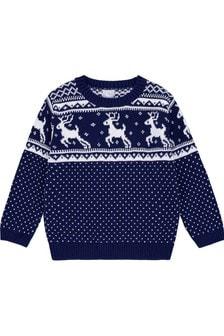 Темно-синий джемпердля детейThe Little Tailor с узором фер-айл и рождественским рисунком