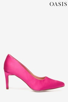 Oasis Pink Satin Court Shoes